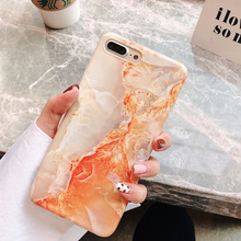 Vintage rust red marble case on for coque iphone 7 xs max soft granite printing glossy cover 8 6 6s plus x xr