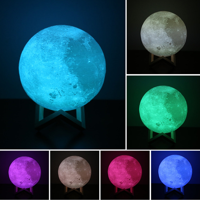 8-20cm Dia 3D Print Moon Lamp USB LED Night Light Gift Touch Sensor 2/3/7 Colors Changing Rechargeable Night Light Bedroom Decor