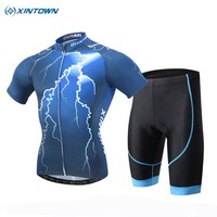 XINTOWN Men Blue Lightning Bike Team Cycling Jersey Sets Outdoor Roupa Ciclismo Bicycle Cycling Clothing With