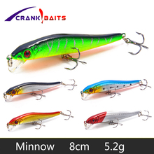CRANK BAITS New Minnow Fishing Lure 8cm 5.2g Hard Artificial Bait 3D Eyes Floating Crankbait Wobblers Japan Fish Pesca YB26