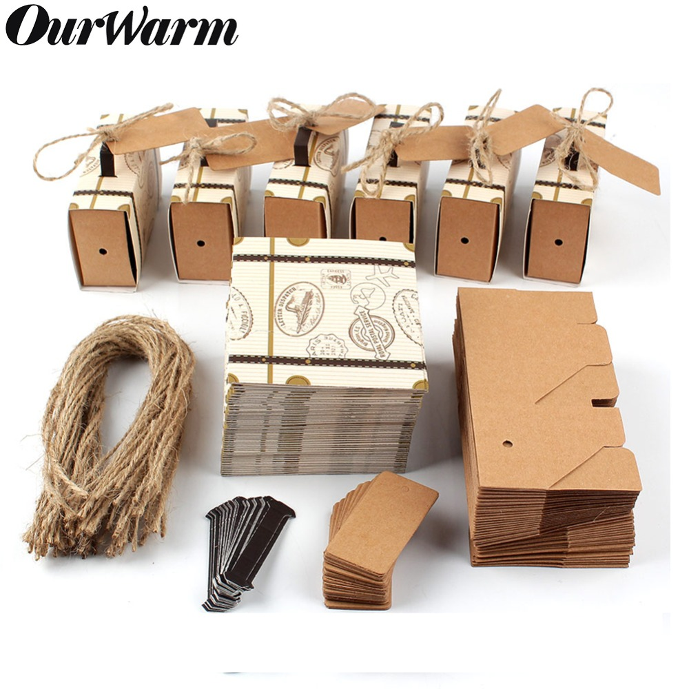 OurWarm 20pcs/50pcs Suitcase Candy Boxes Travel Classic Theme Elegant Style Gift Box Wedding Birthday Anniversary Favor Boxes