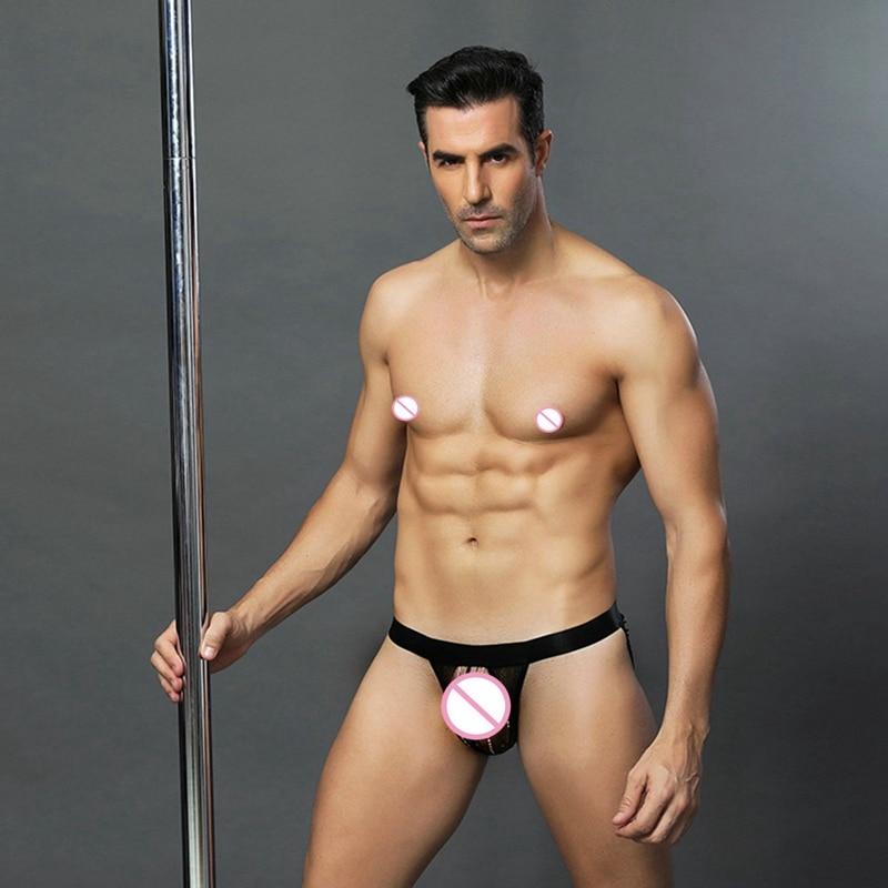 Sexy Male Panties Low Rise Transparent Mesh Penis Undewear Hot Erotic G-strings and Thongs Lingerie For men 6628