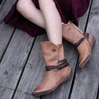 Artmu/Новинка 2018, оригинальные женские ботинки из натуральной кожи, ботинки «Мартенс», Винтажные ботинки ручной работы с ремешками и пряжками,