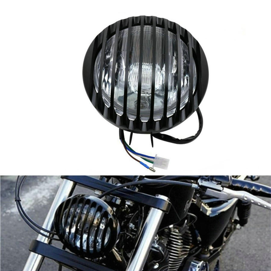 цена на Cafe Racer Light Chrome /Black Motorcycle Headlight Head Light Lamp Hi/Lo For Harley /Bobber /Chopper /Touring