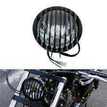 Cafe racer luz chrome/preto motocicleta farol cabeça lâmpada de luz oi/lo para harley/bobber/chopper/touring