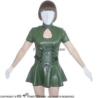 Olive Green With Black Trims Sexy Latex Dress With Zipper At Back And Lacing Front Rubber Military Uniform LYQ 0001