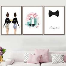 Watercolor Poster Canvas Painting Bow-Picture Flower-Gift Wall-Art Bedroom Home-Decor