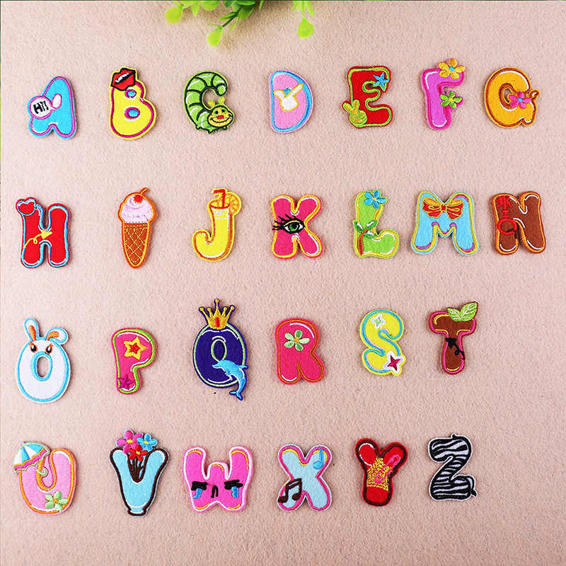 Cartoon Color Cute Alphabet iron on Letter patch biker Applique patches for clothing Baby cloth Sticker Embroidery name patch