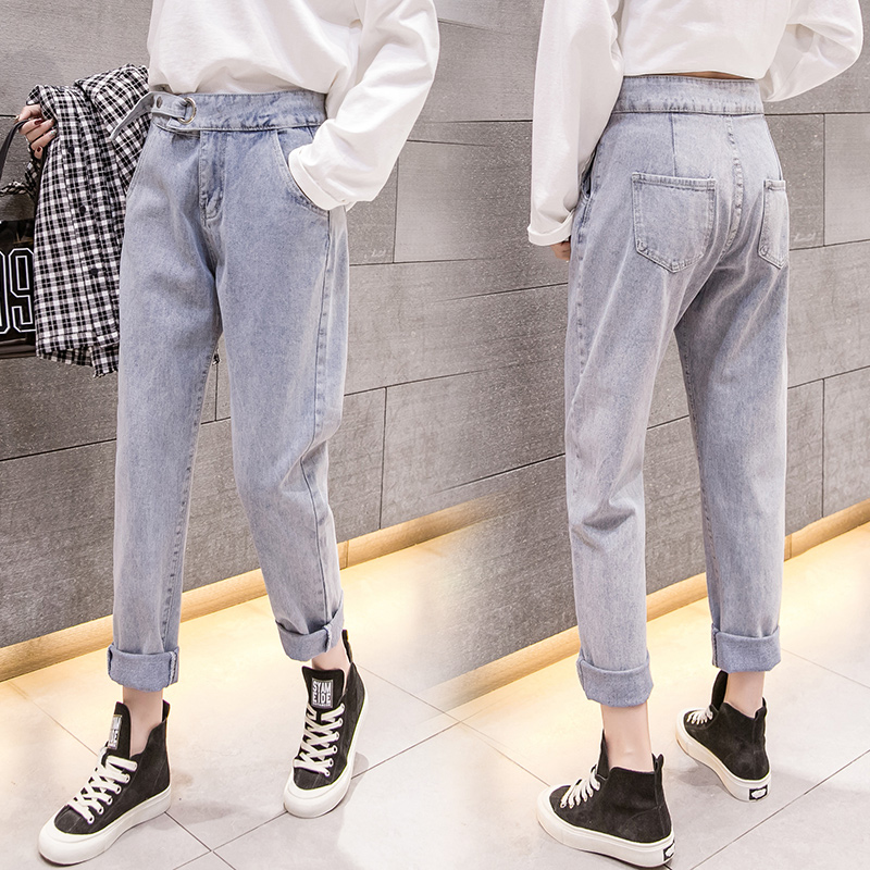 2019 spring new wild long Korean street casual wild straight women's jeans ankle-Length pants 2