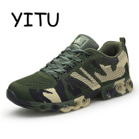 YITU Men's Camouflage Running Shoes Mesh Breathable Army Military Shoes Sport Outdoor Walking Sneakers Comfort Athletic Shoes