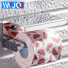 IWJOO Stainless Steel Toilet Paper Holder Modern Bathroom Roll Paper Holder Wall Mount Mobile Phone Tray Paper Towel Rack resin music dogs bathroom towel rack creative european bathroom toilet roll holder paper cassette holder pumping tray decoration