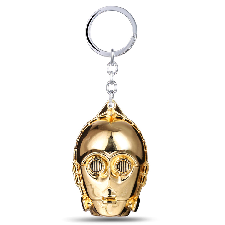 MS JEWELS Movie Star Wars Keychain Alloy C-3PO Mask Metal Key Rings For Gifts Chaveiro Key Chain