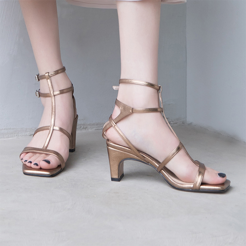 Karree Offener Schuhe Ferse Designer Schaffell Frauen Marke T Abend Silver Med Sommer Hochhackige Pumpen Käfig gold riemen Knöchelriemen P1fw4