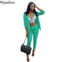 Wjustforu Striped Casual Clothes Two Piece Set Women Cardigan Coat And Bodycon Pants Fashion Sexy Elegant Two Piece Set Female