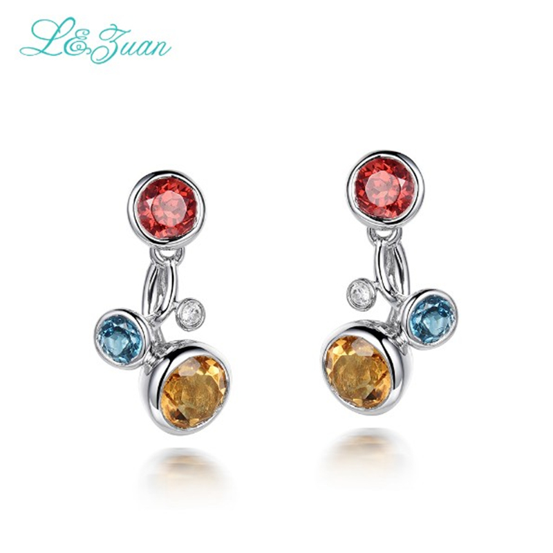 l&zuan S925 Silver Womens Stud earring Trendy 1.68ct Citrine Natural Gemstones With Ruby&Topaz Fine jewelry Party Gift