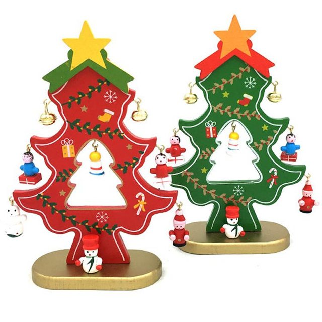hoomall wooden christmas tree decorations with pendants table desk santa claus snowman christmas ornaments navidad new