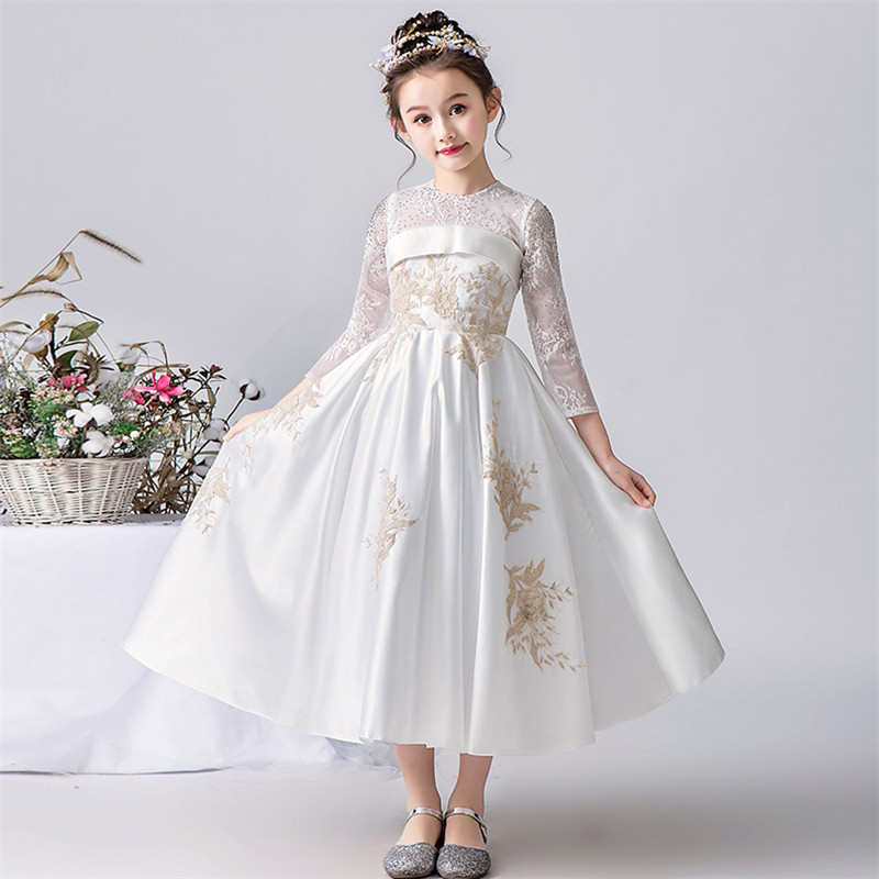 2019Spring New Baby Girls High Quality White Color Evening Party Princess Wedding Birthday Dress Model Teens Piano Host Dress