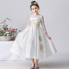 2019Spring New Baby Girls High Quality White Color Evening Party Princess  Wedding Birthday Dress Model Teens 5ebf69c6c62d