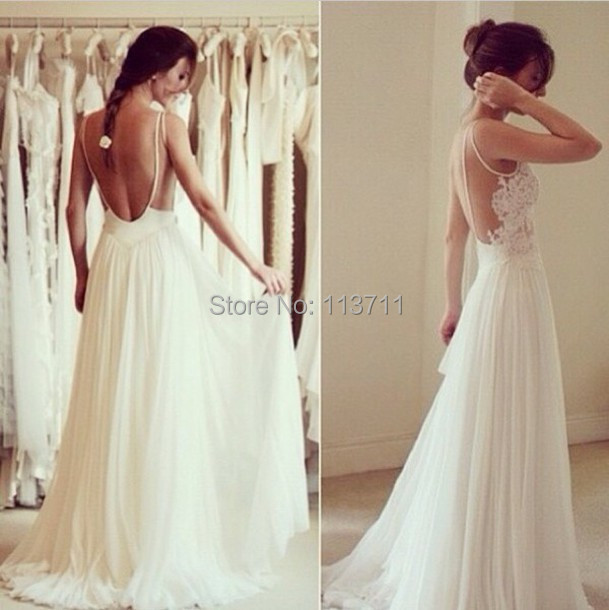 A-line Spaghetti Straps Chiffon Long Lace Top White Backless Prom Dresses Gowns - GoodLuck Fashion Factory store