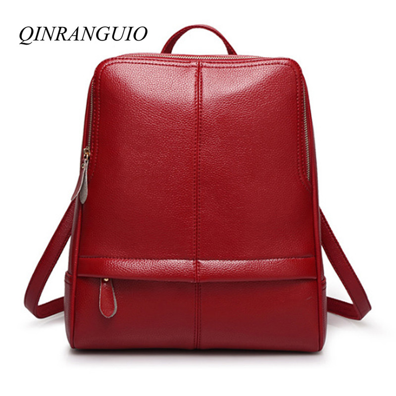 QINRANGUIO 2018 New Leather Backpack Women Top-handle School Bags for Teenage Girls Travel Bag Women Backpack Mochila Feminina 2016 new designers women nylon waterproof backpack for teenage girls school bags female casual travel bag bags mochila feminina