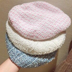 Image 3 - Béret élégant en Tweed à carreaux pour femmes, 5 couleurs à la mode, chapeau assorti, rose, bleu blanc, Y276, printemps automne, offre spéciale