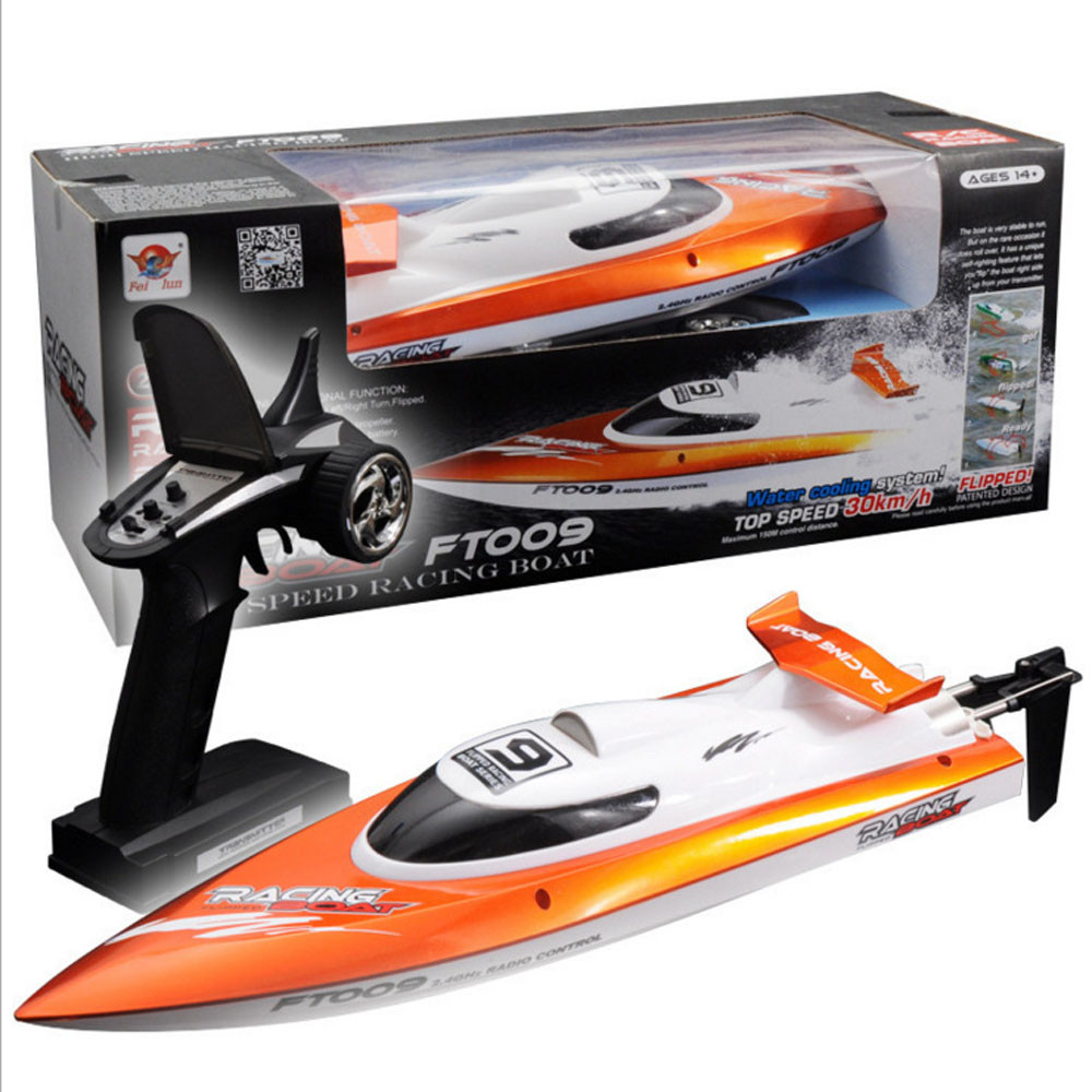 Feilun FT009 2.4GHz 4 Channel Water Cooling High Speed Racing RC Boat Gift FT009 remote control airship Q20 AUG20 f15720 1set high quality feilun ft009 rc boat speedboat component spare parts receiver circuit board box ft009 9 fs