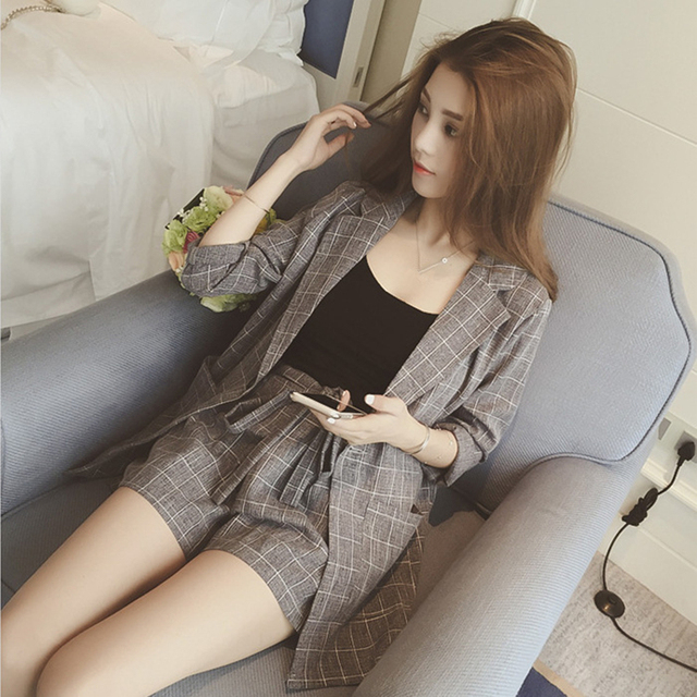 DoreenBow New Spring Autumn Women Fit Blazer Jackets Notched Office Open Front Single Button Pockets Outfits With Camis&Shorts