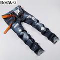 Beswlz Men Hole Denim Jeans Straight Slim Male Cowboy Hip Hop Jeans Pants Fashion Classical Casual Style Men Blue Jeans 9515