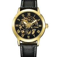 Nueva MCE Hombres Reloj Automático Banda de cuero Genuino Correa Relojes Mecánicos Negro y oro dial esqueleto reloj de pulsera Reloj