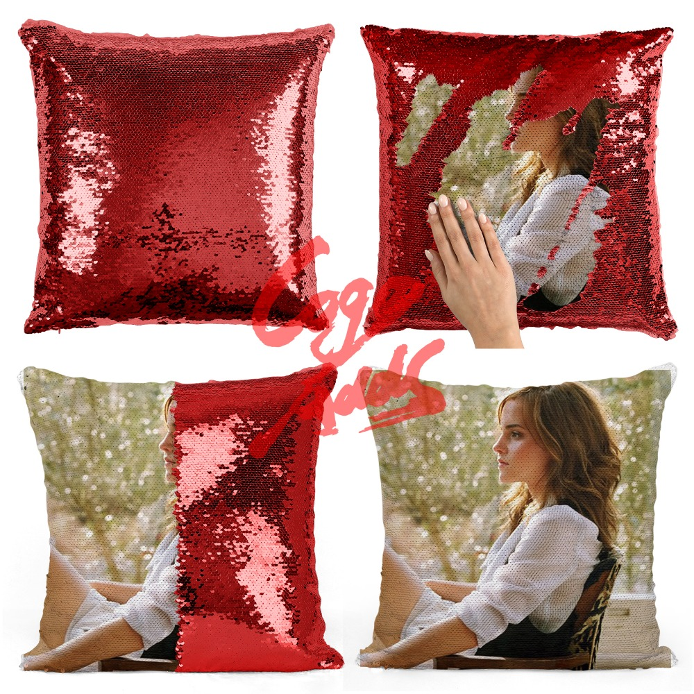 Emma Charlotte Duerre Watson 40*40cm Reversible Sequin Mermaid Throw Pillow Covers Cushion Cover Sofa Living Room Decoration