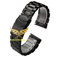 2015 New hight quality 22mm 23mm Black Silver Stainless Steel Men s Watch Band Strap Double