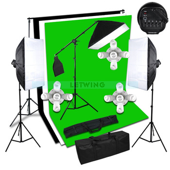 3X1125W Head Photo Studio Continuous Light Softbox Boom Arm Background Stand Kit