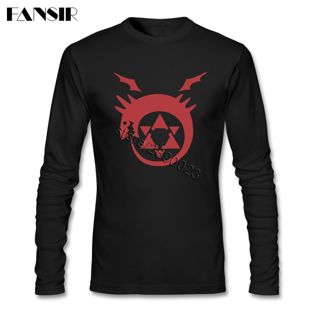 Awesome Tee Shirts Men Anime Fullmetal Alchemist Logo O Neck Long Sleeve Cotton Men T Shirt