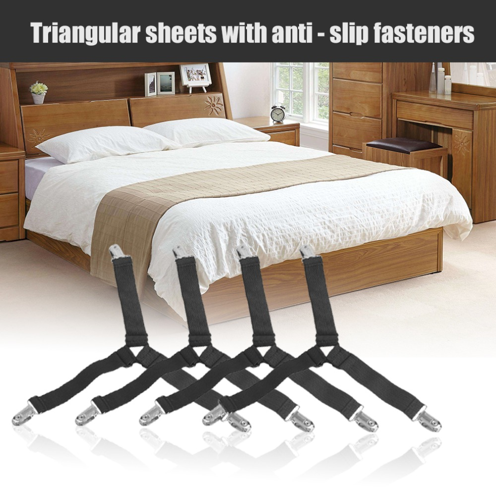 4pcs/set Multifunctional Shape Bed Sheet Fasteners High Elastic Bed Sheet Fastener Grippers Clip Suspender Homehold