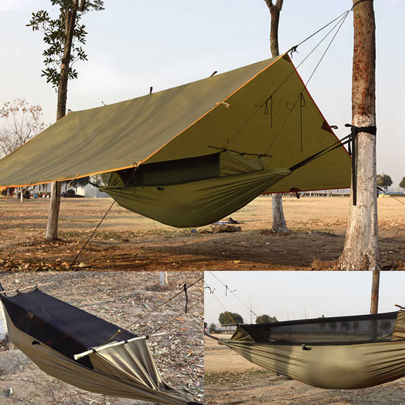 Camping Hammock Tree Tent Multifunction Portable Wear Resisting Hiking Outdoor Anti-mosquito Waterproof Hanging Bed