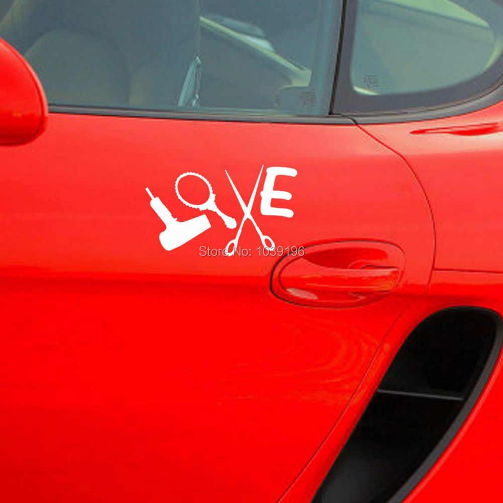 Lucu Kreatif Mobil Styling Cinta Salon Kecantikan Tata Ditetapkan Pengering Rambut, Cermin, Gunting dan Sisir Vinyl Decal Stiker Mobil