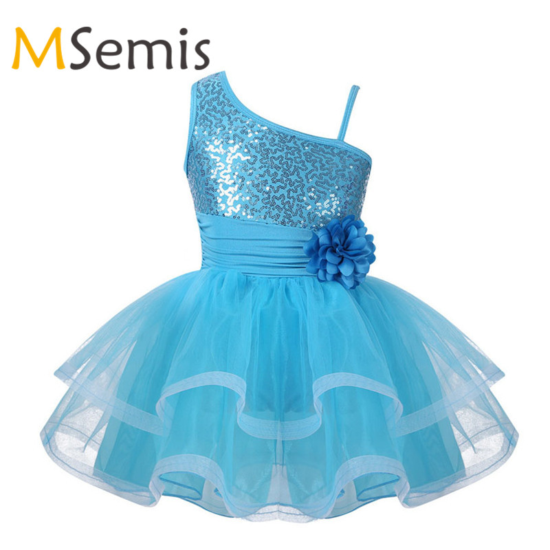 MSemis Kids Girls Shiny Sequins One-Shoulder Ballet Tutu Dress Jazz Modern Dance Stage Performance Costumes