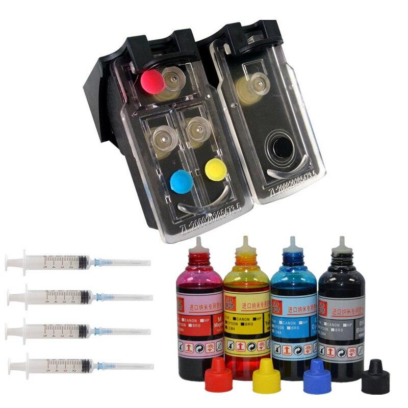 1111 promotions refillable ink cartridge 4 color ink for hp 301 xl deskjet 1050 2050 - Hp 301 Tri Color Ink Cartridge