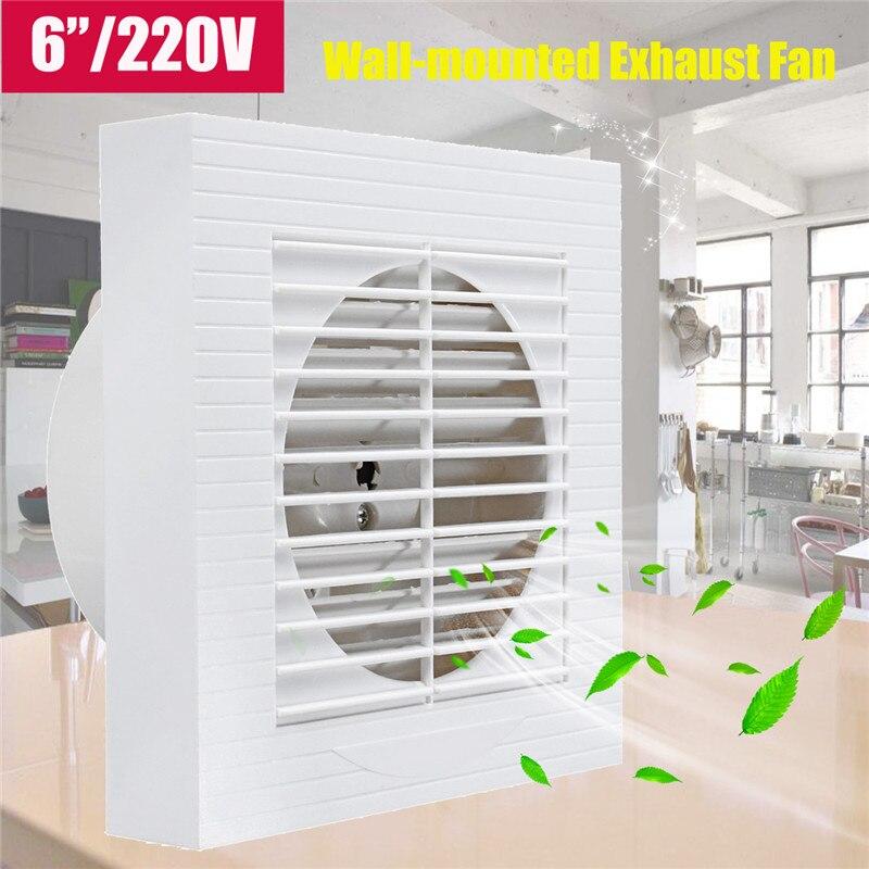 Muet Mur Extracteur D'échappement Ventilation Ventilateur Fenêtre Salle De Bains Cuisine Toilettes Ventilateur Trou Taille 148x148mm 12 W 220 V US Plug 6 Pouce