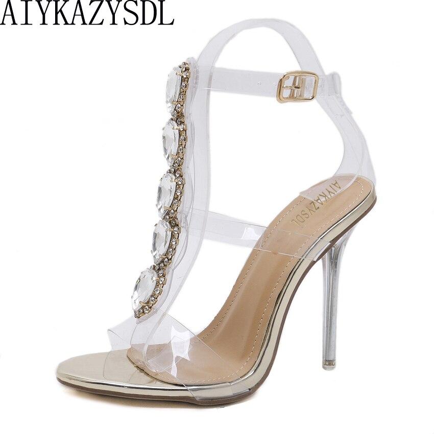 AIYKAZYSDL Crystal PVC Clear Heels Thin Heels Stilettos Women Pumps 2018  Open Toe High Heels Shoes b5c914737f75