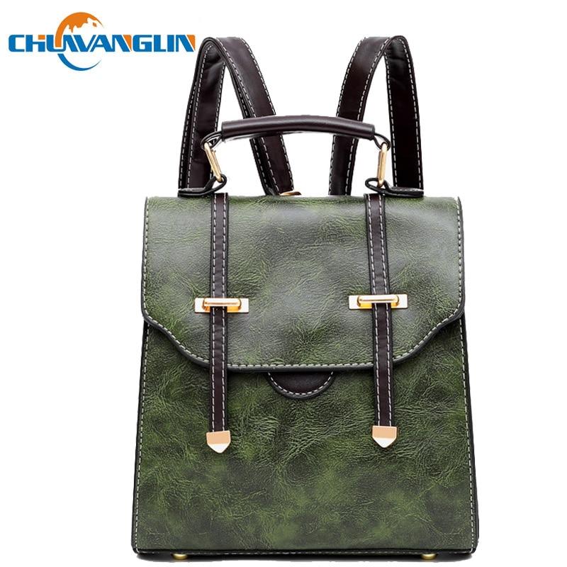 Chuwanglin Vintage Backpack Women Casual Leather Backpacks Arrow Buckle Small School Bags Mochila Feminina Preppy Style L61203