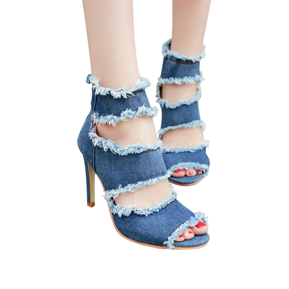 все цены на Fashion women Denim ankle strap high heel pumps shoes for women sexy peep toe high heels sandals party wedding shoes woman