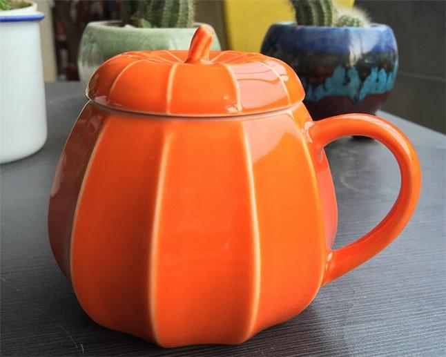 할로윈 호박 세라믹 찻잔 뚜껑 커피 잔 창조적 인 컬러 차 우유 잔 바 및 홈 음료 용기