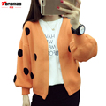 2016 Autumn and Winter New Women 's Fashion Casual Long sleeved Tops Knitted Cardigan Sweater Solid color Dot Sweater Jacket