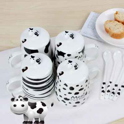 Large capacity cow ceramic cup milk breakfast cup office cup with lid with spoon cute mug