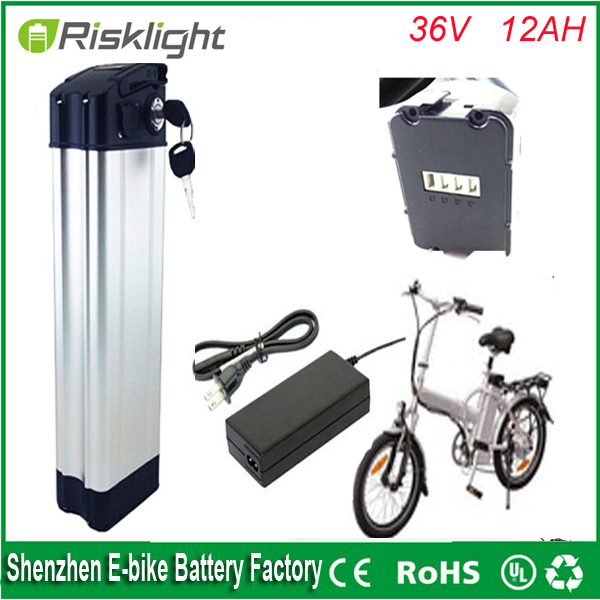 Free customs duty Bottom discharge 36v 12ah lithium ion battey 36v 500w sliver fish ebike battery pack  with BMS + charger free customs taxes high quality diy 72volt li ion battery pack with charger and bms for 72v 10ah lithium battery pack