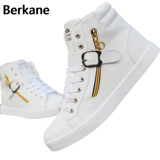 3d701287a6 PU Leather Punk Hip Hop Shoes Men White Solid Color Shoes Platform Flats  Fashion Lace Zipper