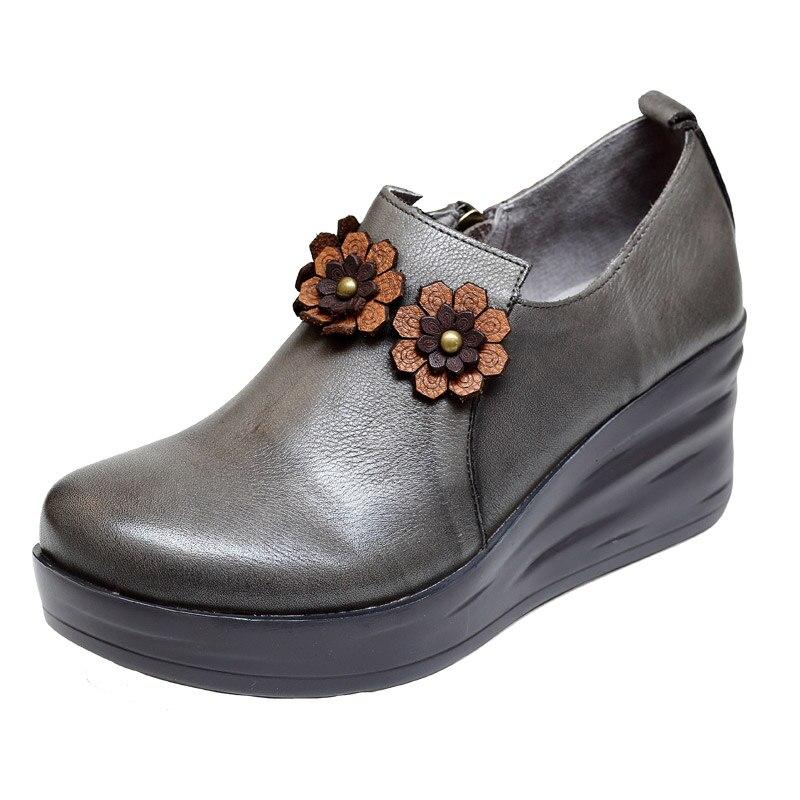 Bombas Las Flores Gris 2019 6 Zapatos Estilo café Mujeres De Marca Cuero Hecho Alto Genuino A Primavera Tacón Mano Retro Cm Cuña 7rqtrRw