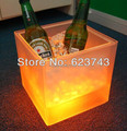 10 pcs ems free envio gratuito de plástico levaram balde de gelo, mudando de cor de plástico balde de gelo, refrigerador de gelo luminoso, brilho barril de Cerveja, o BARRIL de VINHO