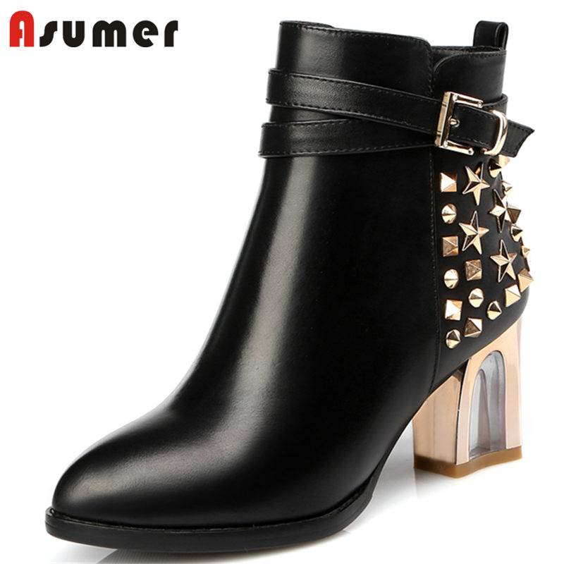 ASUMER NEW 2018 fashion thick high heel genuine leather boots rivet ankle boots for women zipper pointed toe winter boots asumer black white fashion new women boots pointed toe genuine leather boots zipper cow leather ankle boots low heel shoes